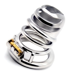 Bra cock online shopping - 2019 Newest Stainless Steel Penis Cage Chastity Lock Cock Cage with Chastity Lock Round Ring for Men G7 B