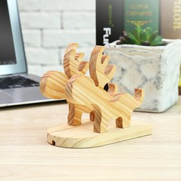 Tablet Stand Wood Australia - Moose Wood Phone Holder Cute Cell Phone Tablet Desktop Mobile Phone Stand Holder Friendly ECO Charging Dock Mount For iPhone iPad Samsung