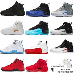 sneakers boys size 13 NZ - New 12s 12 Men Basketball Shoes WNTR Gym Red Michigan white black playoff Flu Game Royal taxi grey sports sneakers trainers size 7-13