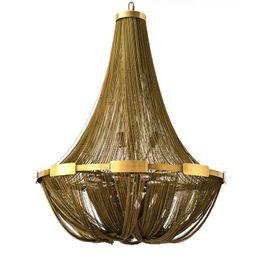 $enCountryForm.capitalKeyWord Australia - Aluminun Tassel Chain Vintage Chandelier E14 LED Lustres Fashion Designer chain lamps Hanging Lamp