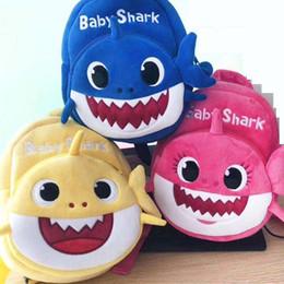 Cartoon Blue Color Australia - 2019 New Cartoon Baby Shark School Bag for Children Kids Cute Plush School Backpack Shark Baby Blue Rose Yellow Color Boys Schoolbag C12