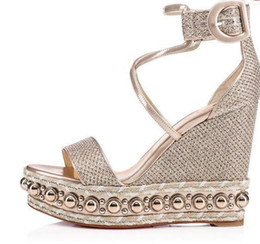 Studs Sandals Australia - Famous Red Bottom Shoes Women Chocazeppa Gold Glitter Leather Sandals High Heels Ankle Strap 2019 Designer's Luxury Studs Sexy Evening Dress