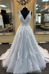 Wholesale silver grey lace wedding dress for sale - Group buy Elegant V Neck Silver Grey Wedding Dresses A Line Tulle Sweep Train Princess Lace Applique Ruched Pleats Wedding Gown vestido de novia