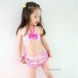 child girl suit design 2019 - Girls Swimwear 2 Pieces Pink Plaid and Bow-knot Design 2-8Y Kids Bikini Set Children Swimming Wear Bathing Suit cheap ch