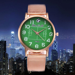 watches men stainless cheap 2019 - Stainless Steel Strap Green Dial Football Pattern Luxury Fashion Cheap Women Quartz Watch Boys Men Valentine Gift 2018 S
