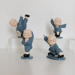 Wholesale Chinese Figures Australia - 4pcs set Fashion Toy Chinese Kung Fu monks doll Figure Toy cute Action Figure Diy Toy gift for baby kids multi styles