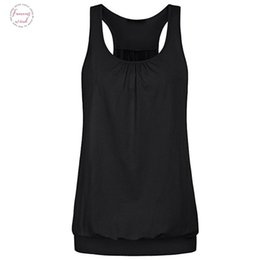 womens running tank top Australia - Womens Sleeveless Casual Wrinkled Loose Racerback Workout Tank Top Sport Running Top Female Summer Plus Size Women Clothing@35