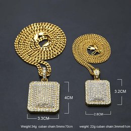 $enCountryForm.capitalKeyWord Australia - Mens Hip Hop Chain Jewelry Full Rhinestone Pendant Necklaces Gold Filled Hiphop Zodiac Jewelry Men Cuban Chain Necklace