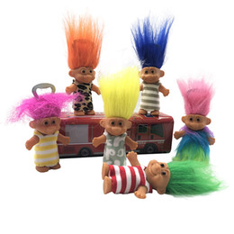 family puppets UK - Colorful Hair Troll Doll Bottle opener Family Members Daddy Mummy Baby Boy Girl Leprocauns Dam Trolls Toy Gifts 8cm