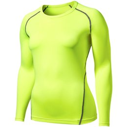 compressed t shirts UK - Fitness Sports Tights Women's Elasticity Long Sleeve Quick-Dry Compressed T-shirt Cchy0018