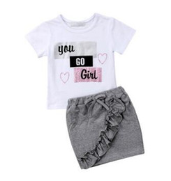 999a5a6366d New Toddler Infant Child Kid Baby Girl Tops T-shirt Pencil Skirts 2Pcs  Outfit Ruffled Shortsleeve Clothes Set 1-5T