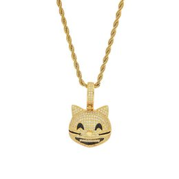 $enCountryForm.capitalKeyWord Australia - Hip Hop Cute Cat Pendant Necklace for Men Women New Arrival 2 Colors Cubic Zirconia Mens Jewelry
