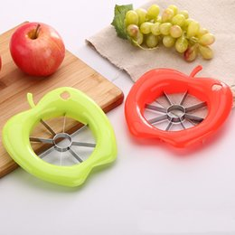 Free Green Gadgets Australia - Apple Shape Kitchen Gadgets Corer Slicer Easy Cutter Cut Fruit Knife Cutter for Apple Pear Red Green DHL Free Shipping