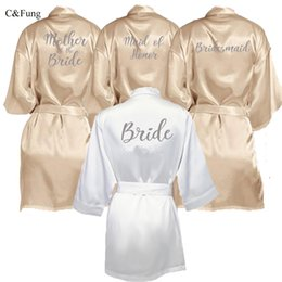 Silver Black Mother Bride Australia - C&Fung champagne gold robe with silver grey writing bridal shower party mother of the groom robe bride women cape satin robes