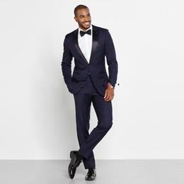 $enCountryForm.capitalKeyWord Australia - Navy Blue Men Wedding Tuxedos Peak Lapel Side Vent Groom Tuxedos Best Popular Dress Men Business Dinner Darty Suit(Jacket+Pants+BowTie) 299