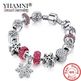 antique sterling bangle UK - YHAMNI Antique 925 Silver Wedding Vintage Jewelry Charm Bracelet & Bangle With Snowflake Pendant Crystal Beads for Women YB211