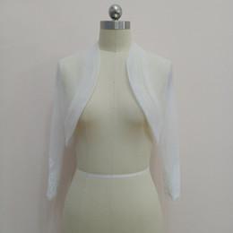 $enCountryForm.capitalKeyWord Australia - Real Photo Long Sleeve Bohemian Elegant Ivory White Tulle Wedding Bolero jackets stock Suite Bride Wedding Accessories