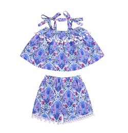 $enCountryForm.capitalKeyWord UK - Summer Baby girls cloth set Children's wear girl baby floral top with string + fringe ball shorts set with string