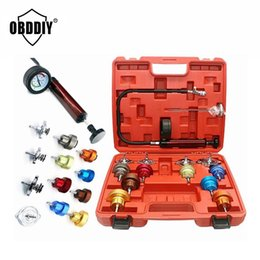 cooling tester UK - Universal Automotive Radiator Pressure Tester Kit 14pcs Full Set Car Leak Detector Tool Auto Cooling System Coolant Vacuum Purge