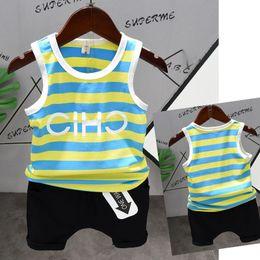 Boys Sleeveless Vest Australia - 2019 Summer Kids Clothes Striped Vest Baby Boys Clothing Set Blue Yellow Striped Sleeveless Shirt+ Shorts 2pcs Casual Clothes Sportswear