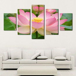 Canvas Art Prints Flowers NZ - Canvas Art HD Posters Prints Painting 5 Piece Pcs Pink Lotus Flowers Modular Wall Framework Pictures For Living Room Home Decor