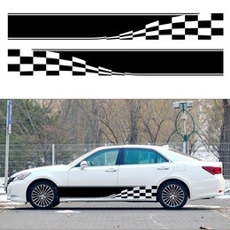 body flags 2019 - 2pcs 152*18.5cm 3D Stickers Car Styling Flag and lattice customizable racing car stickers and decals Body decorations di