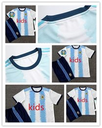 argentina l short NZ - Copa America 2019 kids Argentina soccer jersey 2020 child KITS+SOCK 19 20 MESSI DYBALA MARADONA AGUERO DI MARIA HIGUAIN Kids football shirt