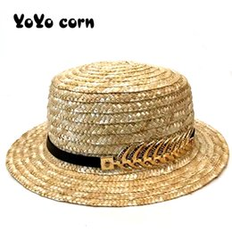 left handed bows UK - YOYOCORN Belt adjustable gold yellow leaves beach Flat brim hats casual sun hat women men sun hats bow hand made straw cap black