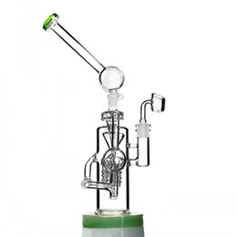 Big recycler Bongs online shopping - 15 inchs Big Glass Bong Recycler Oil Rigs Water Pipes Thick Glass Water Bongs Bubbler Dab With mm Banger
