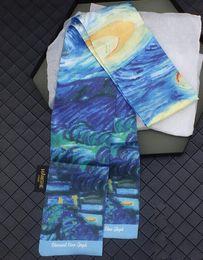 $enCountryForm.capitalKeyWord Australia - 2pcs 2019 new product lengthening widened Van Gogh oil painting starry bedroomTwill silk scarf floating towel small ribbon belt scarf