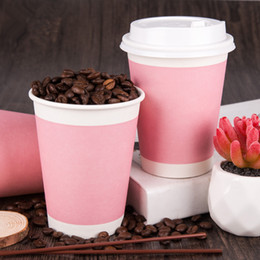 $enCountryForm.capitalKeyWord Australia - 200pcs Pink thicken disposable coffee cup party wedding birthday favor drink paper cup cute takeaway packaging cups with lid