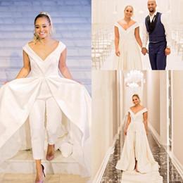 Plus Size Dresses Jumpsuits Australia - Custom Made Jumpsuit Wedding Dresses Sexy V Neck floor Length White A Line Wedding dresses Plus size Vestido De Novia