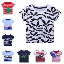 green dinosaur shorts 2019 - Summer Casual Cotton Short Sleeve Boys T-Shirts Dinosaur T Shirt Kid Boy Children Clothing Cartoon Tee&Top discount gree