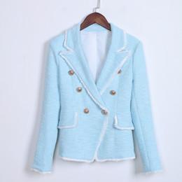 Tassel fringe jackeT online shopping - HIGH STREET New Fashion Designer Blazer Women s Blazer SUIT Double Breasted Lion Buttons Tassel Fringe Tweed Blazer Jacket J1
