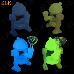 Discount percolator bongs brand - Siliclab brand robot pipe glass bubbler 5inch dab straw smoking silicone water bongs percolator bong glow in dark