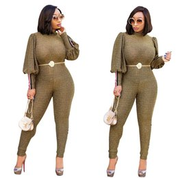green long sleeve pants jumpsuit Australia - 2019 Green Gold Sequins Fabric Charming Women Jumpsuits Latern Long Sleeves High Neck Fashion Skinny Jumpsuits Party Pants Suits Real Images