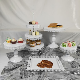cupcake display tier NZ - Hot Selling 5pcs Thick Disk Cupcake Wedding Tray Metal 3 Tier Cup White Bread Display Cake Stand