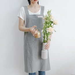 shop aprons Canada - 2020 Brief Nordic wind Pleated skirt cotton linen apron Coffee shops and flower shops work cleaning aprons for woman man aprons