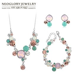 jewelry elements NZ - wholesale MADE WITH SWAROVSKI ELEMENTS Crystal & Rhinestone Jewelry Set Colorful Trendy Style Necklace & Earrings & Bracelet