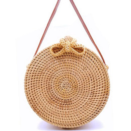 2019 Round Straw Bags Women Summer Rattan Bag Handmade Woven Beach Cross  Body Bag Circle Bohemia Handbag Bali Lowest price L31 69b59a1cb5c1