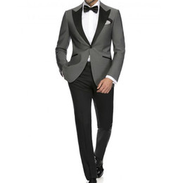 mens grey tweed piece suit Australia - Light Grey costumes de mariage Formal Suit Mens Suits for Wedding Groom Suits 2 Piece Man Wedding Tuxedo Suit
