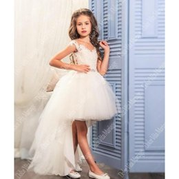 fancy ribbon bows Australia - Girls Dress Fancy Kids Lace Dresses Flower Mesh Children Wedding Gowns Formal Prom Vestidos Baby Frocks for Girl