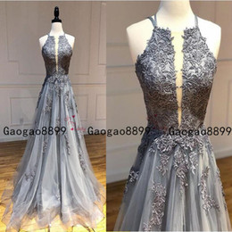 Cheap halter long dresses online shopping - 2019 A line Prom Dresses Halter sleeveless Tulle Criss Cross Straps With lace appliques cheap evening gowns custom made