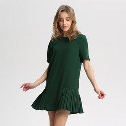 ChiC lanterns online shopping - Women Basic Cute Pleated Dress Short Sleeve Back Zipper Chic Casual Dresses O Neck Solid Straight Vestidos Qb093