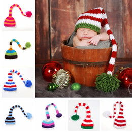 CroChet hat long tail online shopping - Baby Knit Santa Hat Girl Crochet Xmas Caps Boy Christmas Pompom Hats Infant Long Tail Stripe Beanies Cap TTA2139