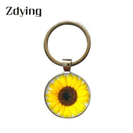 Best Glasses For Sun Australia - ZDYING Fashion Sun flower Keychain Glass Cabochon Yellow Sunflowers Keyring Car Bag Key Ring For Best Friend Gift XR014