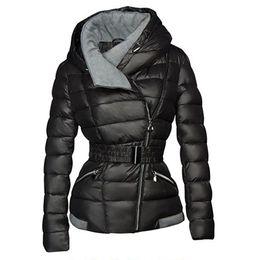 2019 Abrigos de invierno Mujeres Parkas Algodón Cálido, grueso, chaqueta corta Abrigo con cinturón Delgado Casual con cremallera Gótico Negro Abrigos largos en venta
