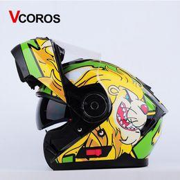 $enCountryForm.capitalKeyWord Australia - Vcoros flip up motorcycle helmet Double lens modular Men full face mototbike helmet with inner shield moto helmets DOT approve