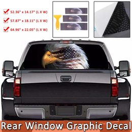 Wholesale eagle plastic resale online - Flag Bald Eagle Rear Window Graphic Decal Sticker Car Truck Suv Van Reaper Rear Window Vinyl Decal with Install Tool