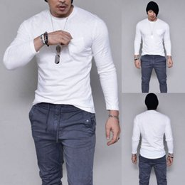 muscle fitting t shirts Canada - hirigin Men's Slim Fit R Neck Long Sleeve Muscle Tee T-shirt Casual Cotton Tops